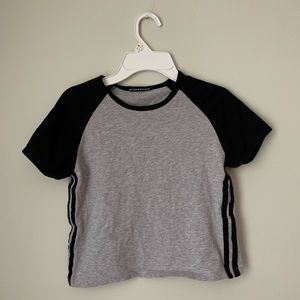 Women's Brandy Melville Grey and Black Tee